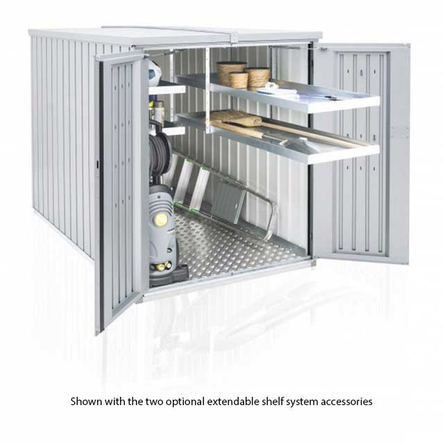 4 x 7 Biohort MiniGarage - Metallic Silver with doors open and shelving pulled forward