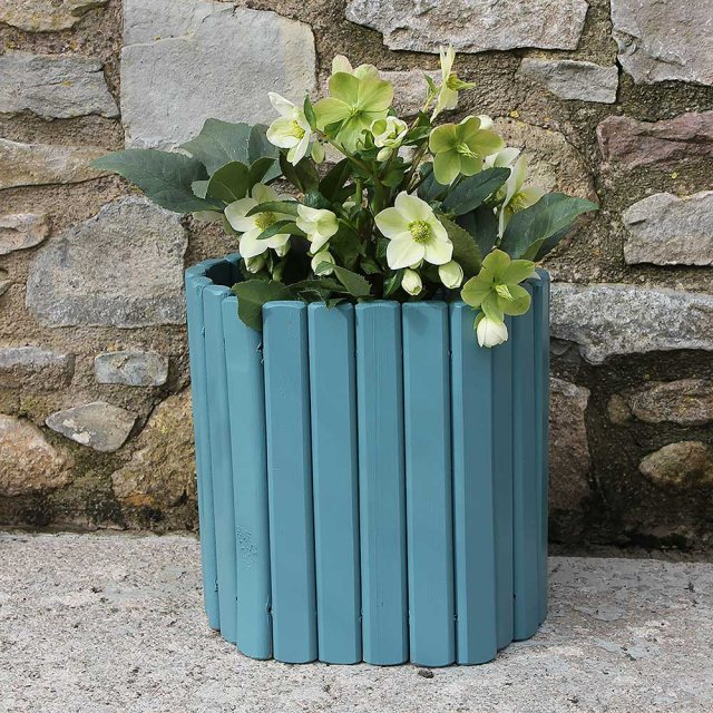 Thorndown Wood Paint 150ml - Brue Blue - Lifestyle painted on planter