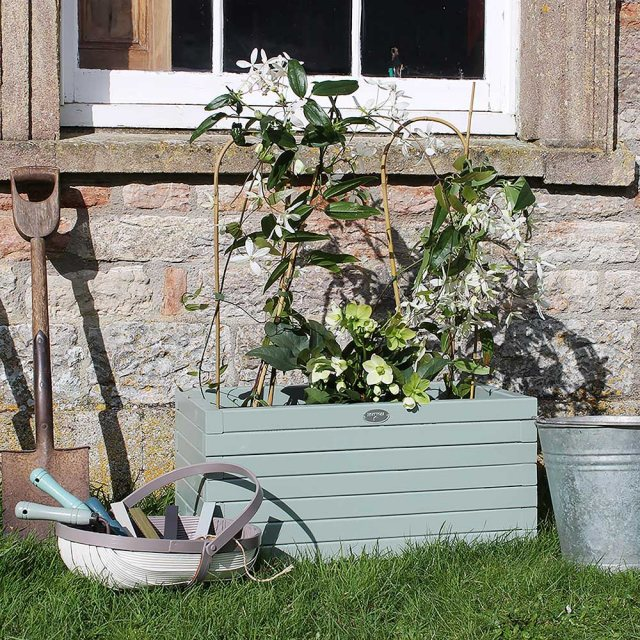 Thorndown Wood Paint 2.5 Litres - Old Sage Green - Painted on wooden planter
