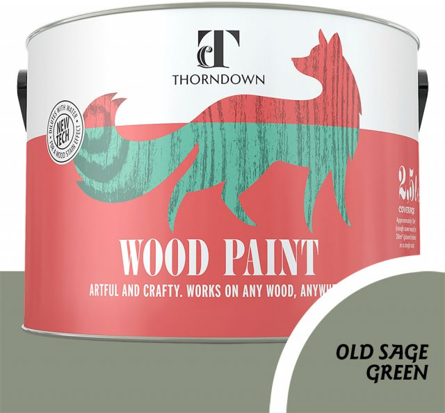 Thorndown Wood Paint 2.5 Litres - Old Sage Green - Pot shot