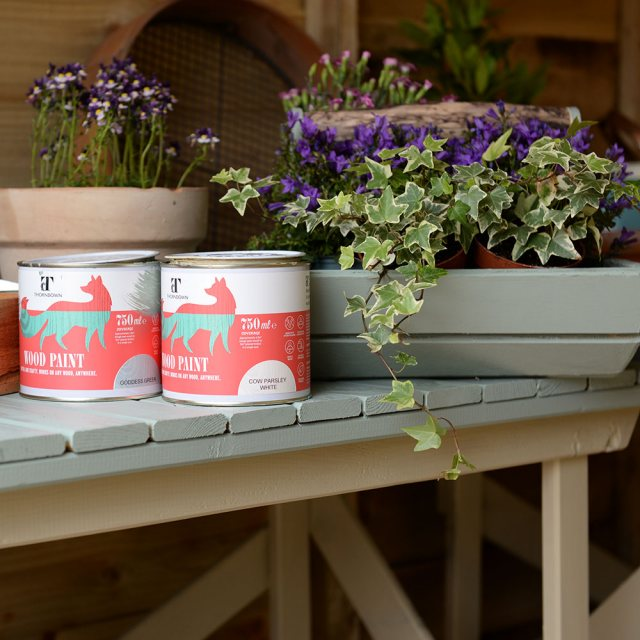 Thorndown Wood Paint 750ml- Goddess Green - Painted on plant pot
