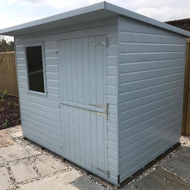 Thorndown Wood Paint 150ml - Greylake - Painted on shed