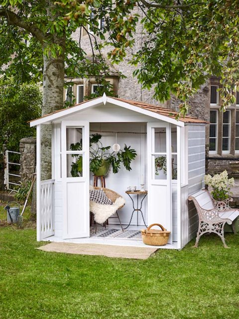 Protek Royal Exterior Paint - China Clay lifestyle on summerhouse