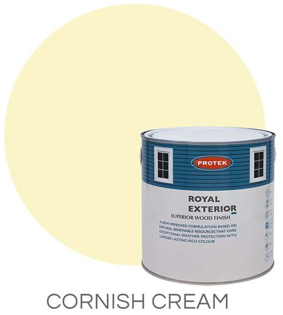 Protek Royal Exterior Paint 2.5 Litres - Cornish Cream Colour Swatch with Pot