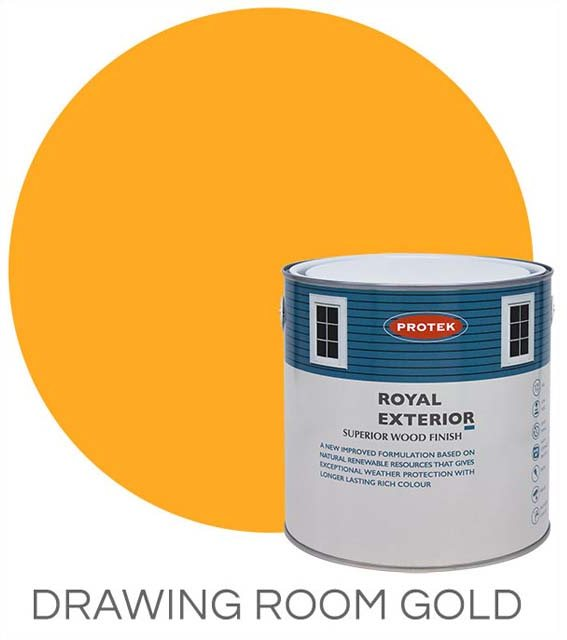 Protek Royal Exterior Paint 2.5 Litres - Drawing Room Gold Colour Swatch with Pot