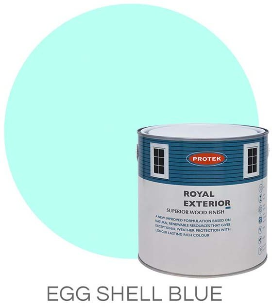 Protek Royal Exterior Paint 2.5 Litres - Eggshell Blue Colour Swatch with Pot