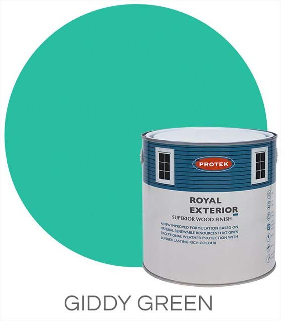 Protek Royal Exterior Paint 2.5 Litres - Giddy Green Colour Swatch with Pot