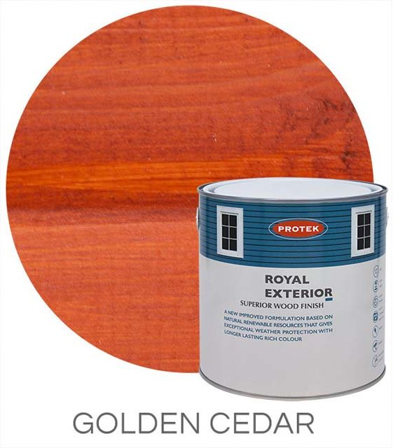 Protek Royal Exterior Paint 2.5 Litres - Golden Cedar Colour Swatch with Pot