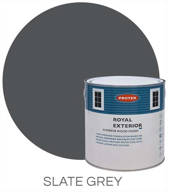 Protek Royal Exterior Paint 2.5 Litres - Slate Grey Colour Swatch with Pot