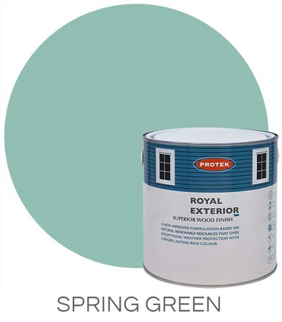 Protek Royal Exterior Paint 2.5 Litres - Spring Green Colour Swatch with Pot