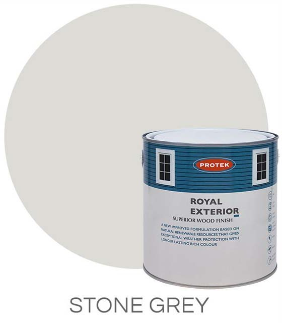 Protek Royal Exterior Paint 2.5 Litres - Stone Grey Colour Swatch with Pot