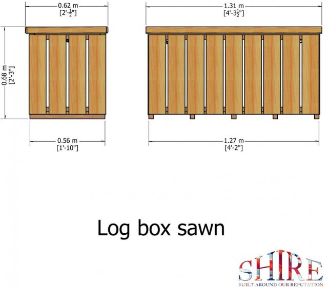 4 x 2 Shire Pressure Treated Log Box with Sawn Timber - dimensions diagram