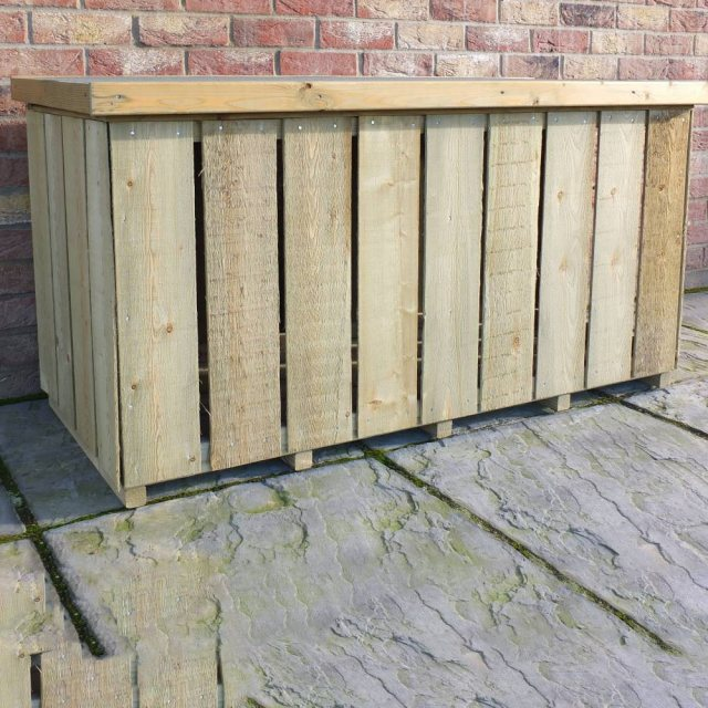 4 x 2 Shire Pressure Treated Log Box with Sawn Timber - from side angle