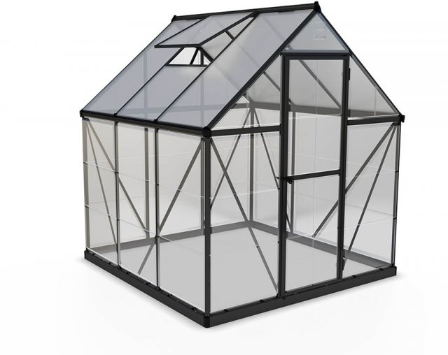 6 x 6 Palram Hybrid Greenhouse in Grey - isolated view