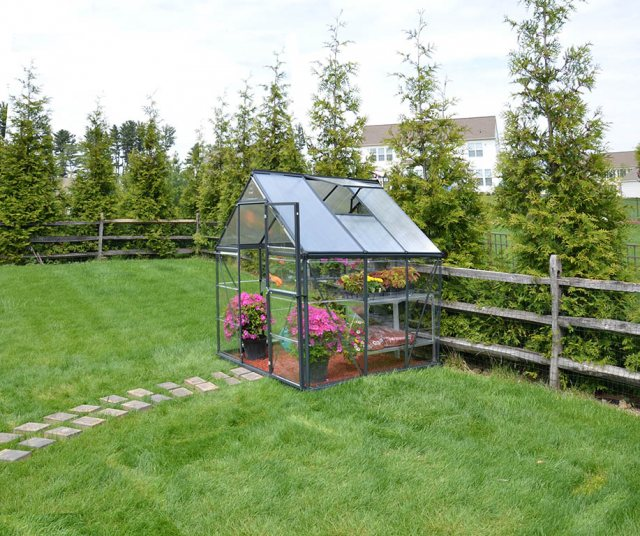 6 x 6 Palram Hybrid Greenhouse in Grey - in situ