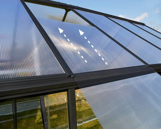 Palram Hybrid Greenhouse in Grey - intuitive sliding glazing assembly