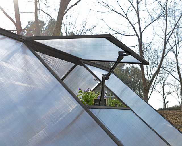 Palram Hybrid Greenhouse in Grey - single manual opening roof vent