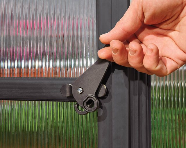 Palram Hybrid Greenhouse in Grey - door handle can be locked with a padlock