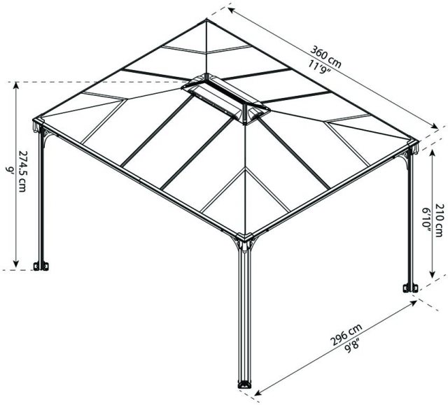 10 x 12 Palram Martinique 3600 Gazebo - dimensions