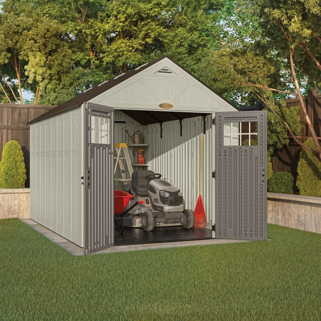 8x13 Suncast Tremont Plastic Shed - with doors open