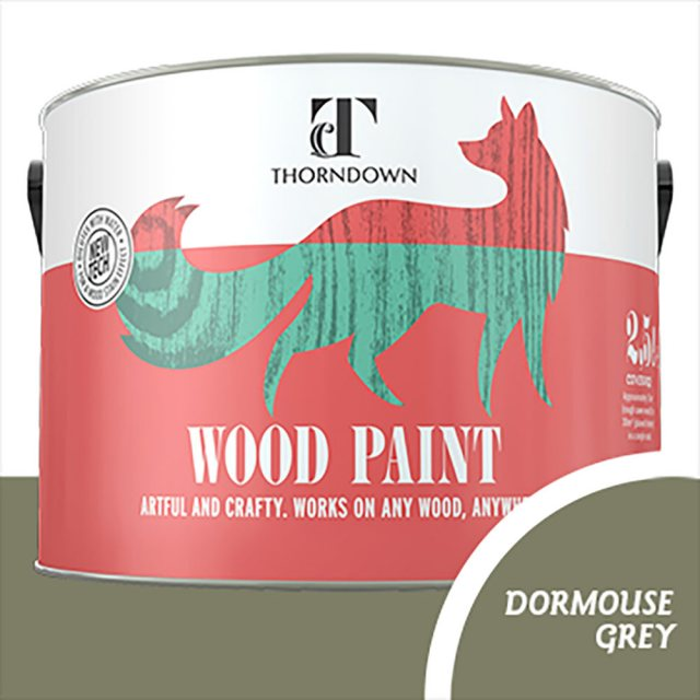 Thorndown Wood Paint 2.5 Litres - Dormouse Grey - Pot shot