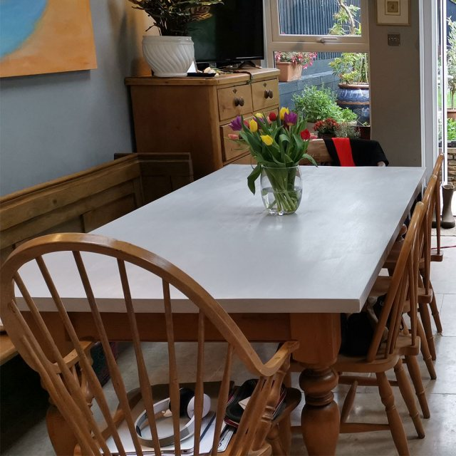 Thorndown Wood Paint - Zinc Grey - Painted on a table top