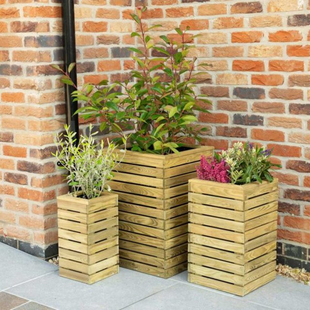 Forest Contemporary Slatted Planter - Set of three