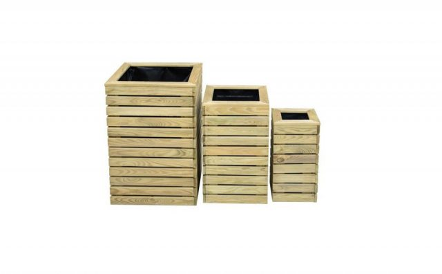 Forest Contemporary Slatted Planter - Set of three- isolated front on