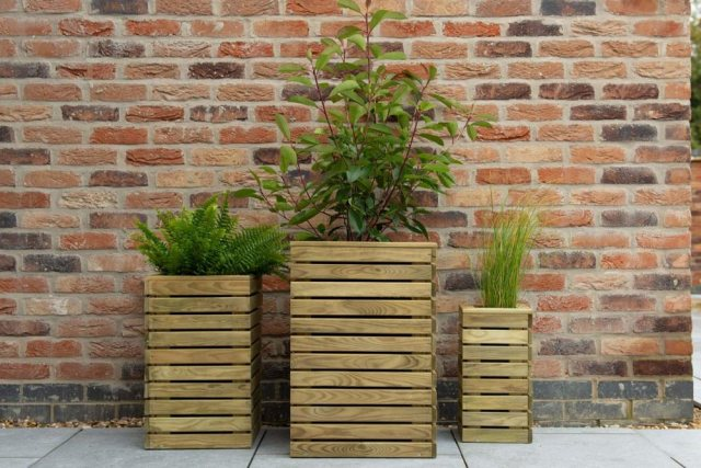 Forest Contemporary Slatted Planter - Set of three - In use