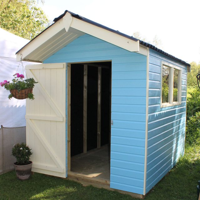 Thorndown Wood Paint 750ml- Adonis Blue - Painted on wooden shed