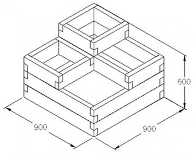 Forest Caledonian Tiered Raised Bed  - Dimensions