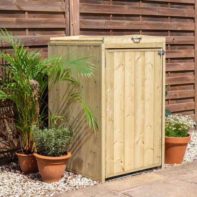 2x3 Mercia Bin Store - Single -  Pressure Treated - with background door closed