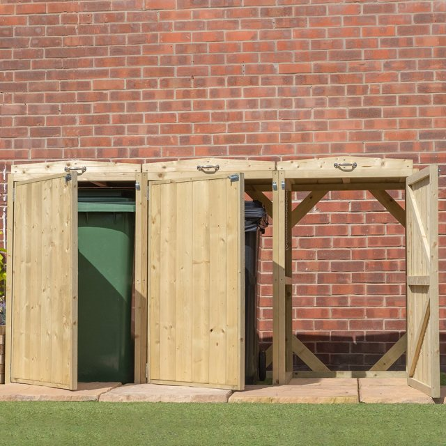 7x3 Mercia Bin Store - Triple -  Pressure Treated - with background and doors open and ajar