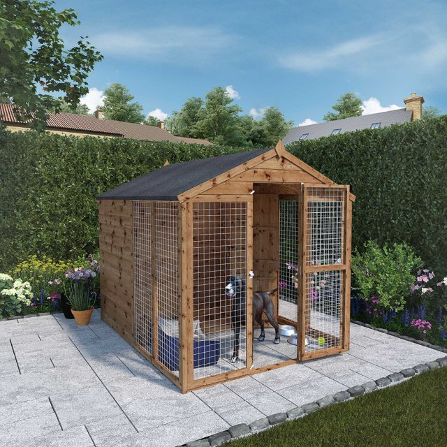 8x6 Mercia Staffordshire Dog Kennel & Run - Pressure Treated - with background angled  and door open