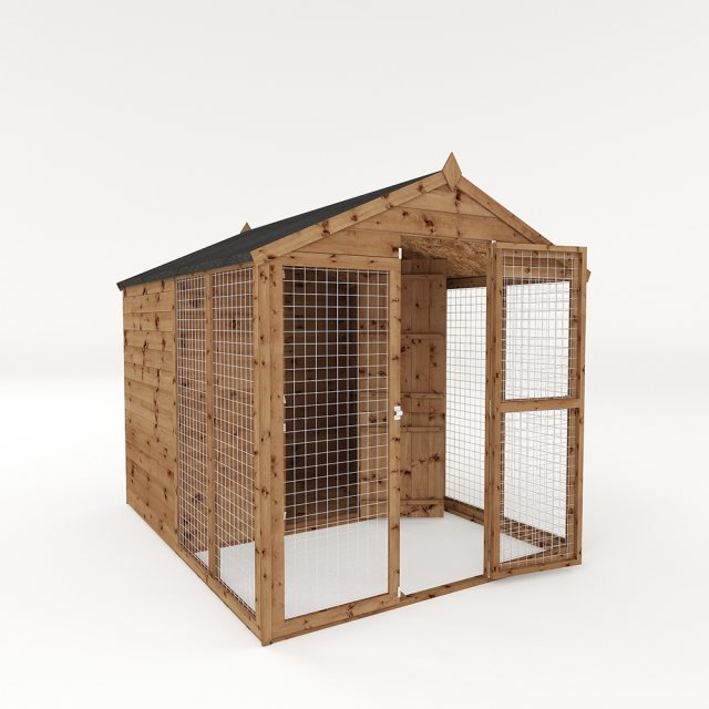 8x6 Mercia Staffordshire Dog Kennel & Run - Pressure Treated - isolated with door open