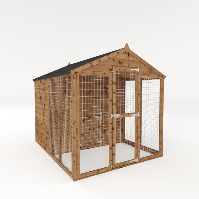 8x6 Mercia Staffordshire Dog Kennel & Run - Pressure Treated - isolated with door closed