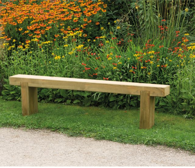 6ft Forest Sleeper Bench - Pressure Treated - insitu