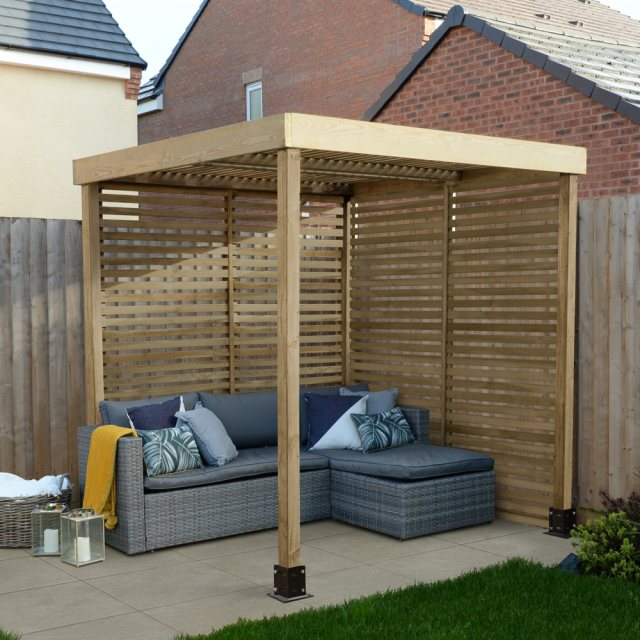 Forest Modular Pergola with 2 Side Panels - Pressure Treated - insitu