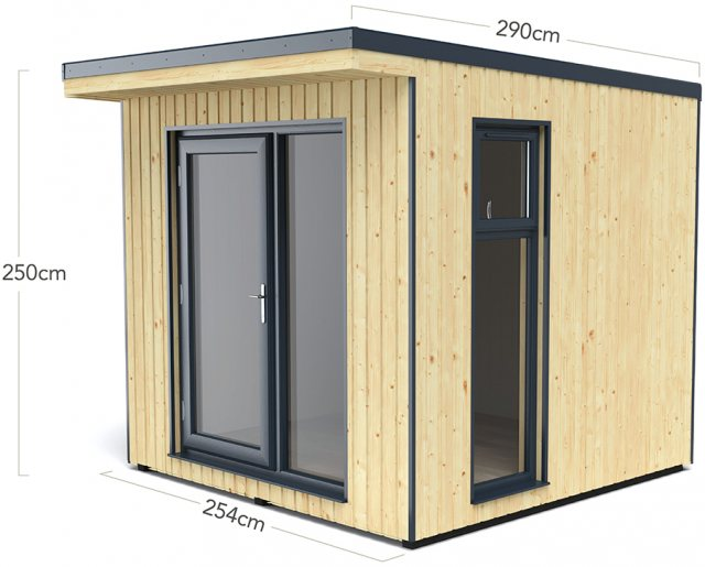 8x9 Forest Xtend 2.5 Insulated Garden Office - dimensions