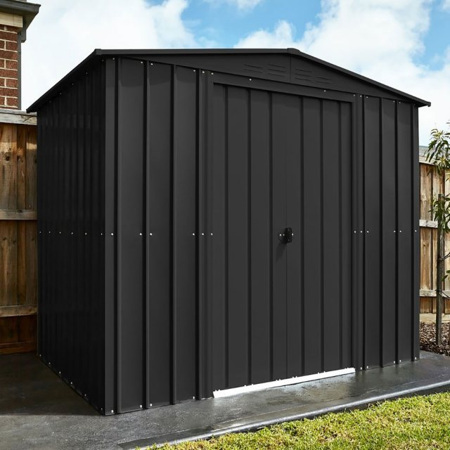 insitu image of the 8x3 Lotus Metal Shed in Anthracite Grey