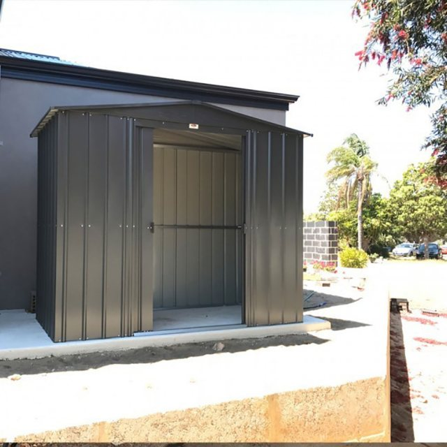 insitu showing double door opening on the 8x3 Lotus Metal Shed in Anthracite Grey