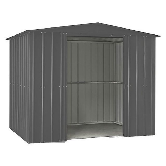 isolated image of the double doors open on the 8x3 Lotus Metal Shed in Anthracite Grey